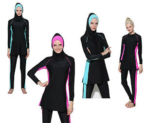 Ramadan Modesty Muslim Women Swimwear Swimsuit Islamic Beachwear Burkini N53