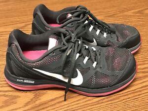 d8466a6c354 Nike 653594-003 Women s Dual Fusion Run 3 Gray Pink Running Shoes Sz ...