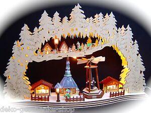 3D-LED-Lichterbogen-Schwibbogen-Kirche-Seiffen-Weihnachtsmarkt-57x37-cm-10121