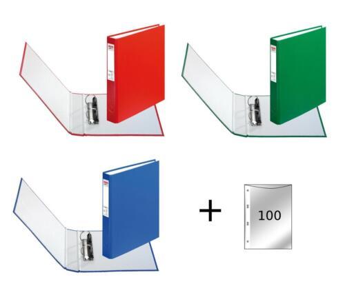 DIN A5 Ringbuch 100 Prospekthüllen 3 Ringbücher je 1x grün rot blau