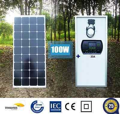 100W 12V MONO SOLAR PANEL + 10A 20A 30A SOLAR CHARGE CONTROLLER CARAVAN 100 WATT