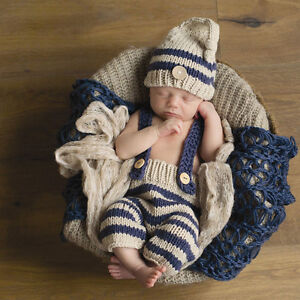 0e235e8c2c5 Image is loading Newborn-Baby-Photography-Props-Infant-Knit-Crochet-Costume-