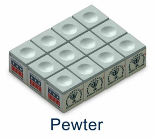 12 x SILVER CUP Chalk Snooker Pool Billiard Cue Chalk Pewter