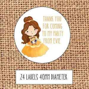 24 Personnalisé Brillant Princess Foncé Teint Sweet Cône stickers sac de fête