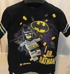 Justice League Batman Boys Short Sleeve T-shirt Black Tee Size 6 New