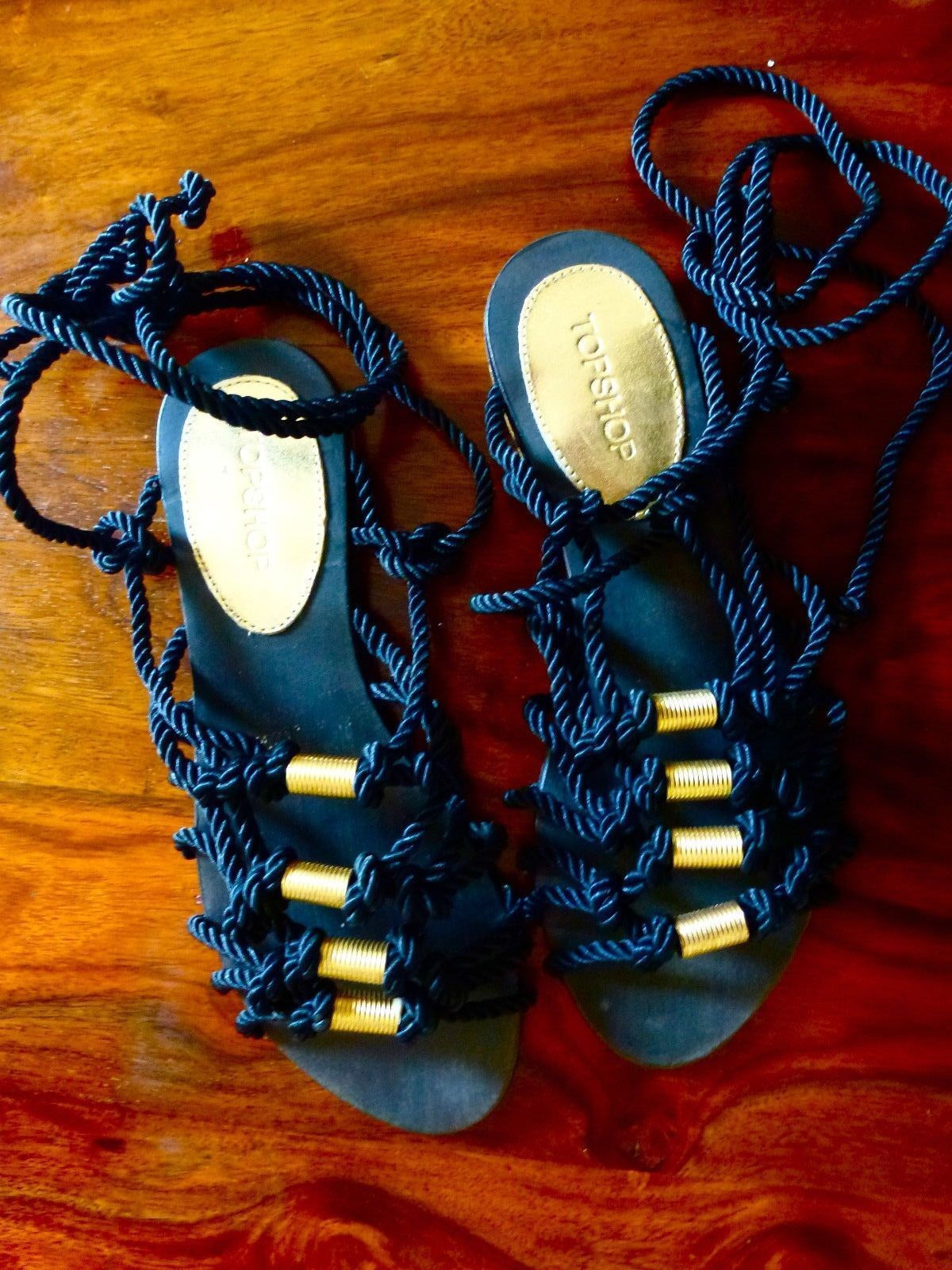 TOPSHOP BLACK ROPE STRAPPY ROMAN GLADIATOR SANDALS Schuhe FLATS BOOTS 4 37 6.5