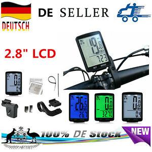 "2.8/"" Kabellos LCD-Bildschirm Fahrradcomputer Tachometer Kilometerzähler"