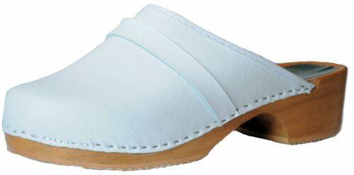 """/""""MARITED/"""" DAMEN HERREN HOLZ CLOGS LEDER UPPER Pantolette Sandalette"""