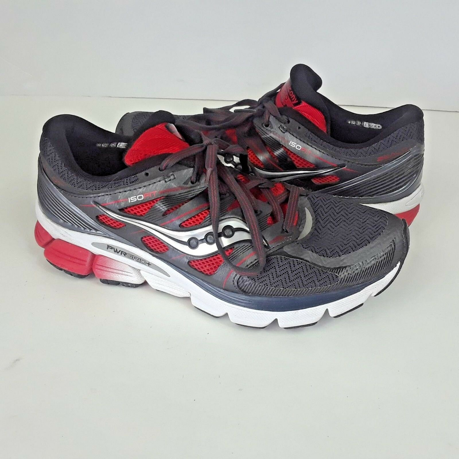 Saucony Iso Fit Red Grey Athletic Running Cross Trainers Tennis shoes Mens 7.5