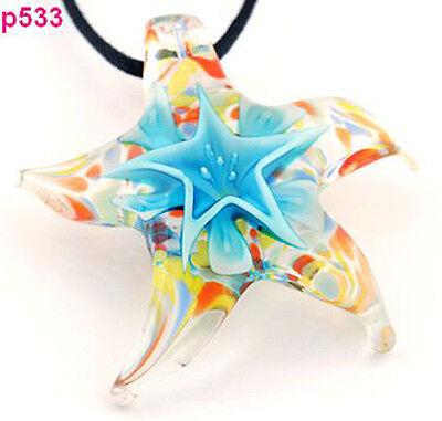 Starfish star handmade glass beaded Pendant Necklace p0533