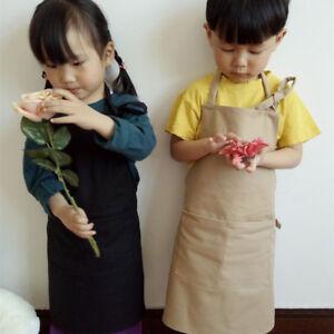 Filles-Garcons-Toile-de-coton-solide-TABLIER-ENFANTS-PEINTURE-cuisiniere-cosplay