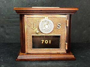 Post Office Box Door Bank Safe  Antique Door With Key Lock Mahogany