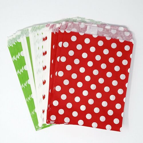 48 Polka Dot and Stripes Green and Red Food Candy Treat Party Favor Bags 5x7