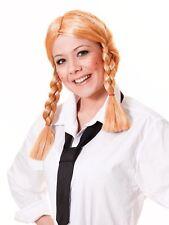 Ladies Blond School Girl St Trinians Plaits Pigtail Bendy Fancy Dress Costum WIG