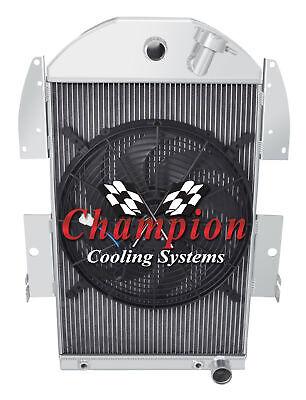 "3 Row Racing Champion Radiator W// 16/"" Fan for 1934-1936 Chevy P//U Truck V8 Conv"