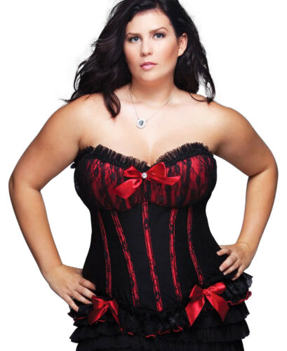 Coquette 328X Plus Size Black And Red Fully Boned Corset