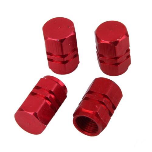 4pz Tappi Valvola Pneumatico Coprivalvole Alluminio Per Auto Camion Rosso