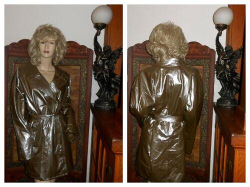 Vtg M/L Shiny Silvery Gold PVC vinyl raincoat viny