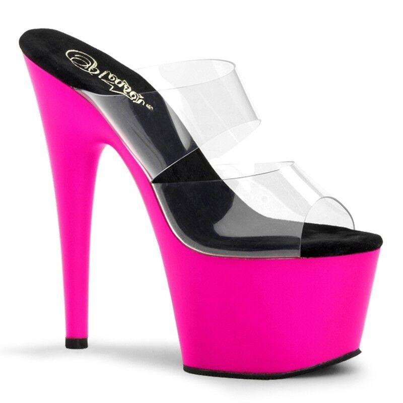 Pleaser Adore-702UV Schuhes Mules Slip High On High Slip Heels Platform Sandales Pole Dancing 03877b