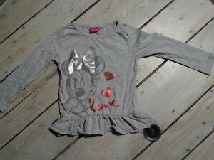 Tunique-manches-longues-gris-chine-imprime-Minnie-argente-DISNEY-Taille-4-ans