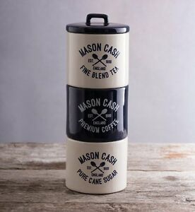 Image Is Loading Mason Cash Varsity Tea Coffee Sugar Stacking Canisters