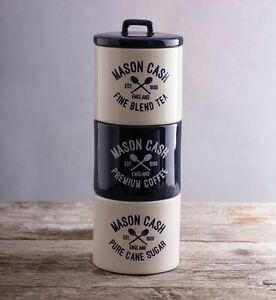 Mason Cash Varsity Tea Coffee Sugar Stacking Canisters Storage