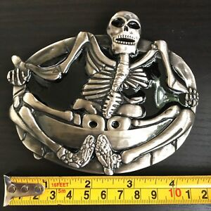 Belt-Buckle-SILVER-MEN-WOMEN-Skull-Biker-BUCKLE-Silver-MEN-WOMEN