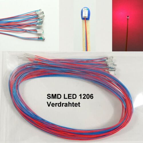 10 Piece SMD LED 1206 Red wired with cable on Wire microkabel C3747