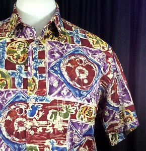 Burma-Bibas-Hawaiian-Aloha-Shirt-Large-Red-Purple-Blue-Stylized-Glyphs-Cot-Lawn