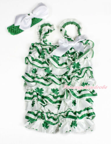 St Patrick's Day Baby Girl Green Clover Stripes Satin Romper White Bow Set NB-3Y