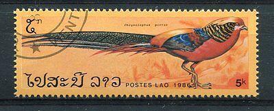 Briefmarke 720 Chrysolophus Pictus Entwertet Fasane 1986 Zuversichtlich Laos Vögel