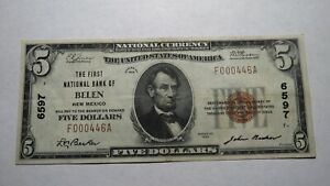 5-1929-Belen-New-Mexico-NM-National-Currency-Bank-Note-Bill-Ch-6597-XF-RARE