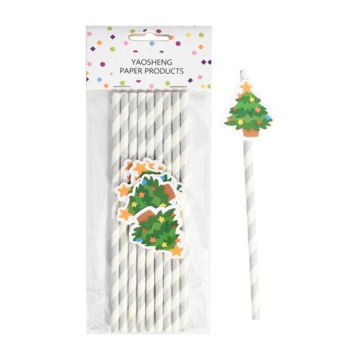 10PCS Christmas Paper Straws Kids Christmas Party Supplies DIY Drinking Straws