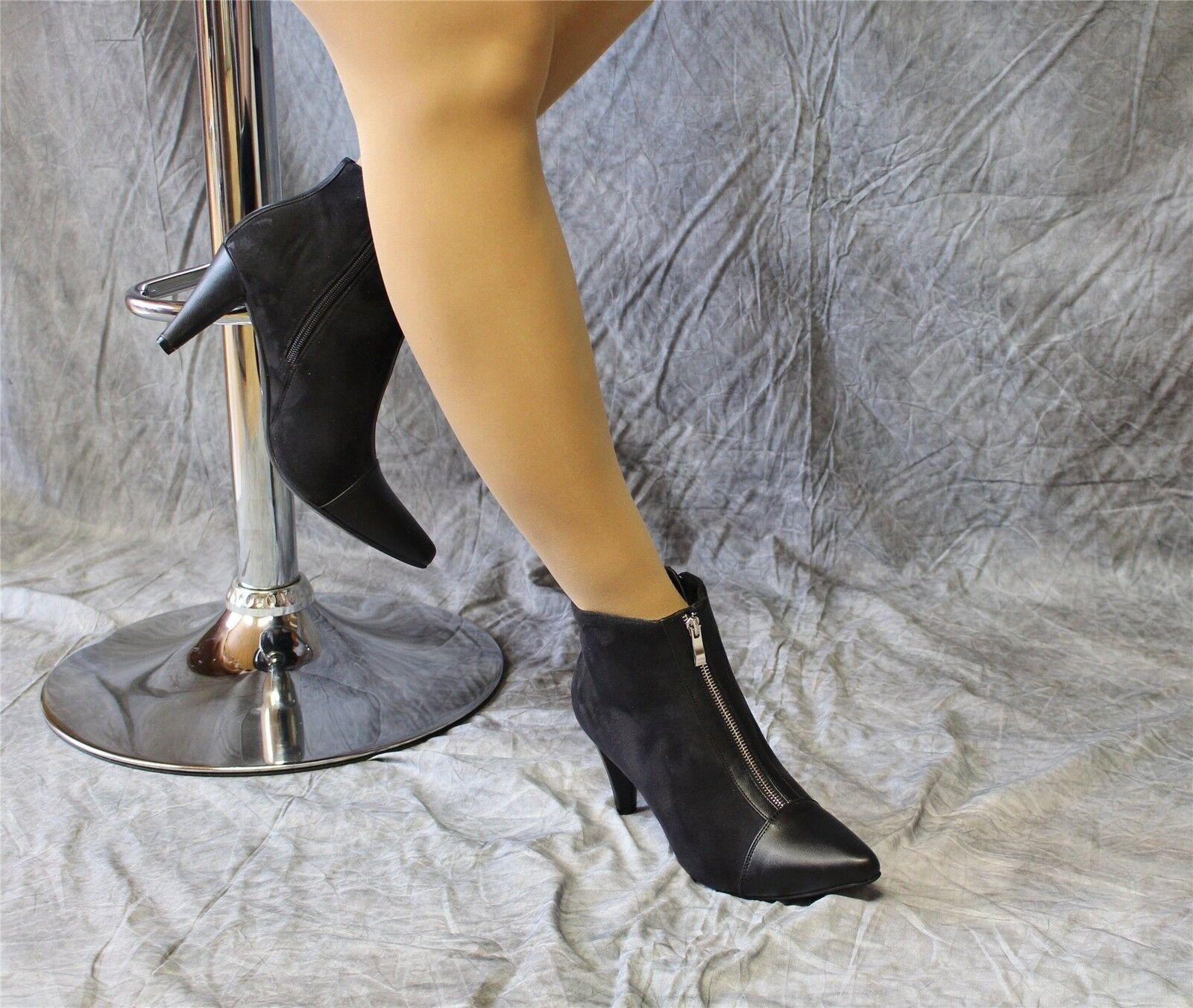 elegante Velour-Stiefeletten schwarz mit Reißverschluss Andrea Conti