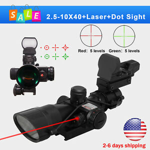 2.5-10X40 Tactical Rifle Scope with Red Laser Holographic Green-Red Dot Sight