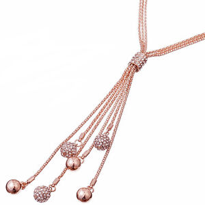 Long dangling cubic zirconia ball bead rose gold costume jewellery