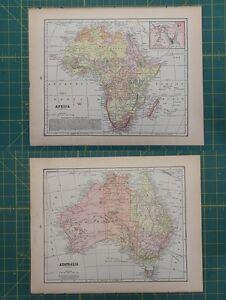 Africa australia vintage original antique 1892 world atlas map lot image is loading africa australia vintage original antique 1892 world atlas gumiabroncs Images