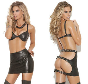 7b3ad73092 Image is loading Black-Leather-Skirt-Open-Paddle-Back-Adjustable-Buckle-