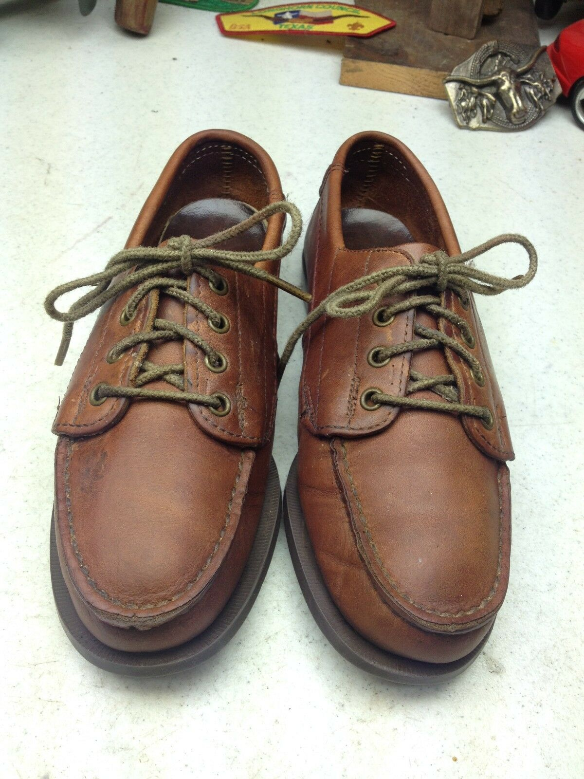 EASTLAND MADE IN USA ACADIA DISTRESSED BROWN LEATHER LACE UP WALKING SHOES 6.5 M