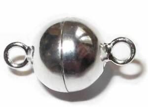 Damen Kette Magnetschliesse Federring Magnet Verschluss Versilbert 8 mm