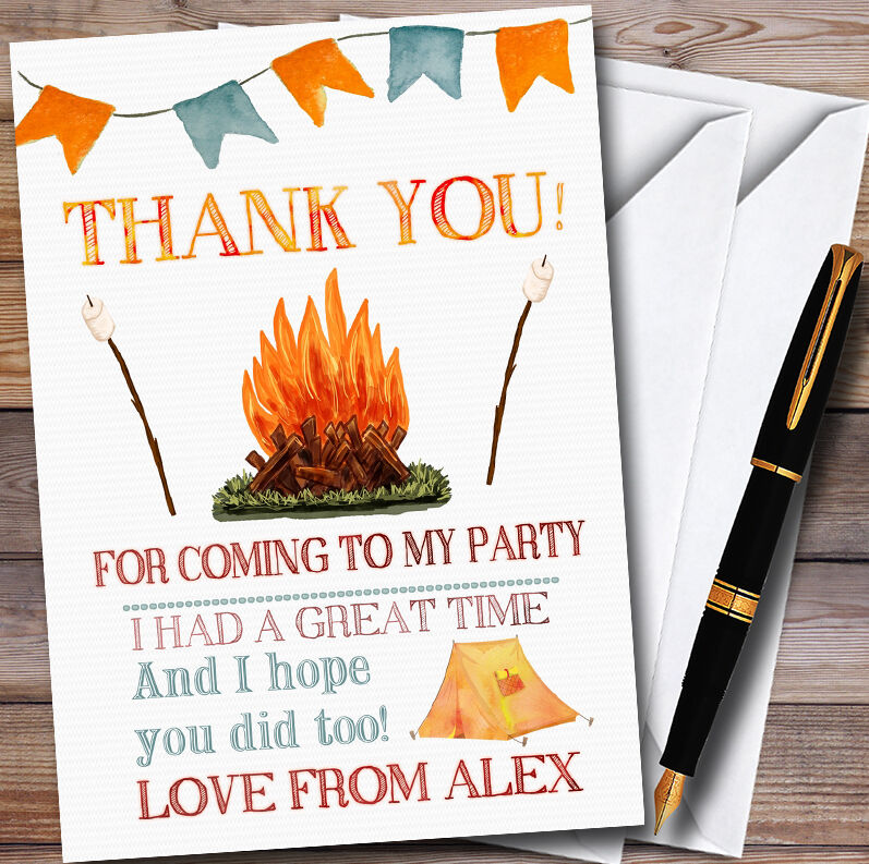 Campfire Camping Personalised Party Thank You Cards
