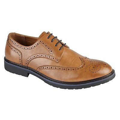 74ddd5532a8 Mens Boys Tan Formal Smart LaceUp Brogue Casual Shoes UK Sizes 6 7 8 9 10  11 | eBay