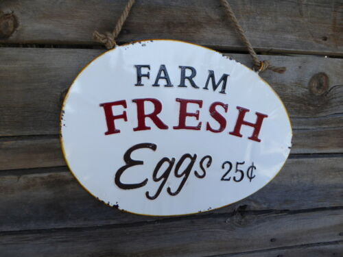 FARM FRESH EGGS 25¢ on Rope Farmhouse Rooster Rustic Kitchen METAL SIGN