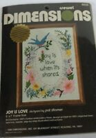 Vintage Dimensions Crewel Stitch Kits Joy Is Love 5x7 Needlework Nip Stitchery