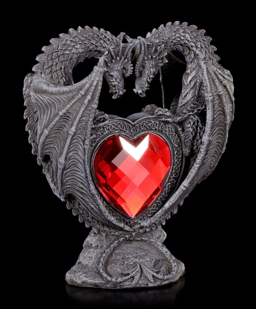 Figura de Dragón - Pareja Pareja Pareja Amantes con rot Corazón - Decoración Gótica Estatua a03d20