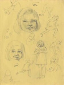 Bip-Pares-1904-1977-1934-Graphite-Drawing-Studies-of-a-Girl