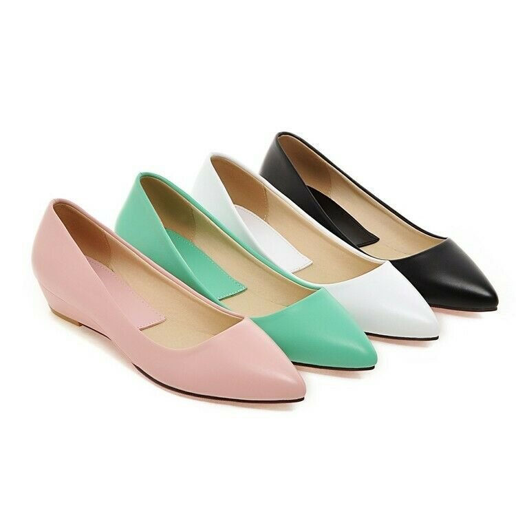 New Women Pointy Toe Slip On Low Wedge Heels Pumps shoes Ballet Flats Large Size