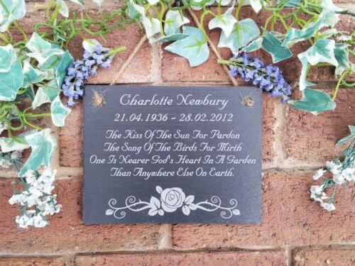 Personnalisé naturel ardoise Memorial poème Plaque 13 cm x17cm Script de POLICE Rose