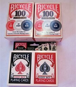 Bicycle-Rider-Back-Playing-Cards-2-pack-w-2-boxes-of-100-poker-chips-new