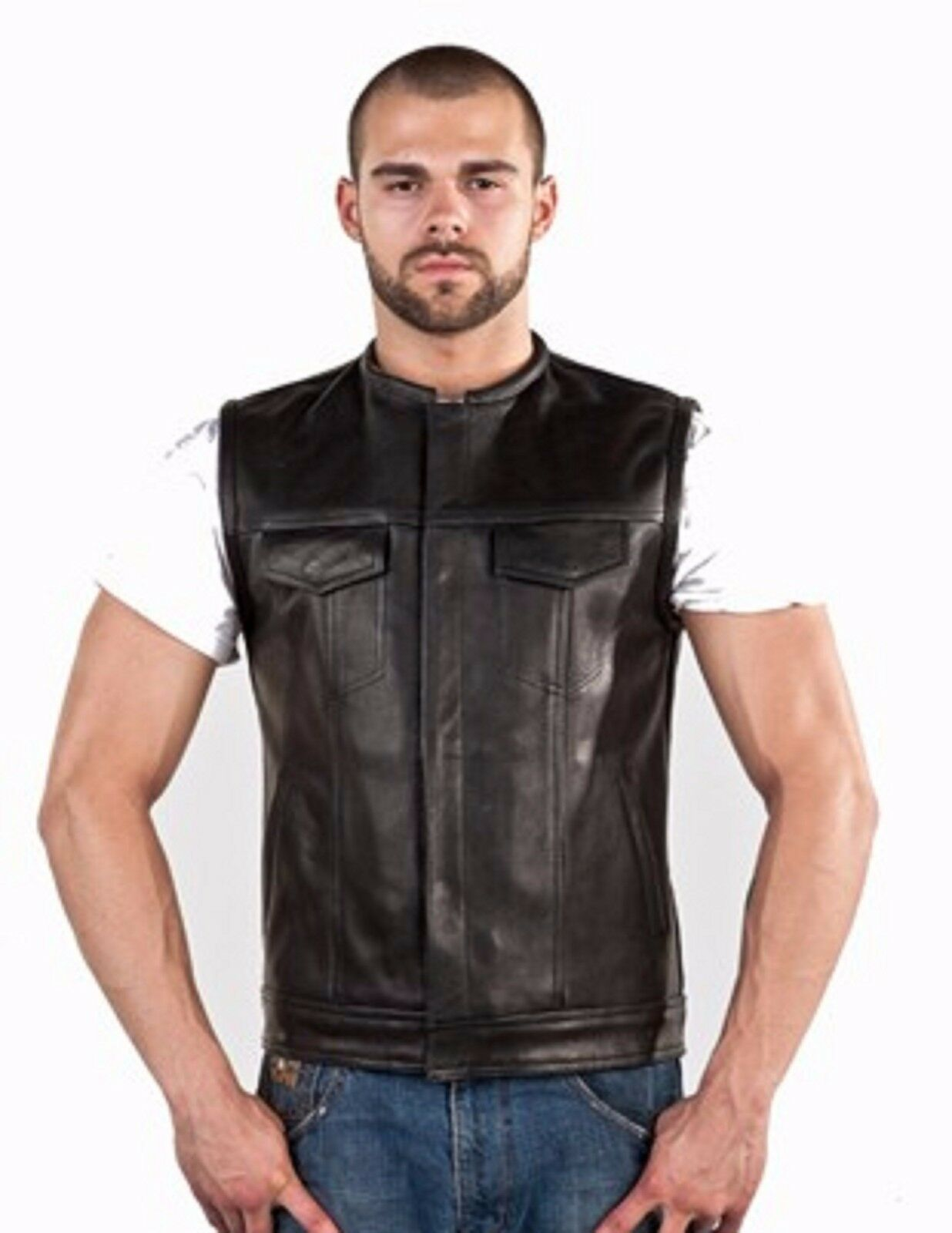 Men No Collar Leather Motorcycle Club Vest With Red Liner  MV8002-11
